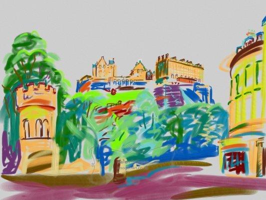 Edinburgh Castle from opposite King's Stables Road