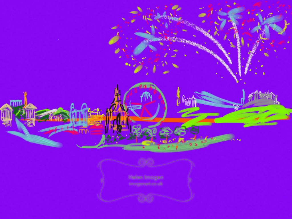 Edinburgh Skyline in Purple with Fireworks