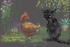 Chicken friends with a cat