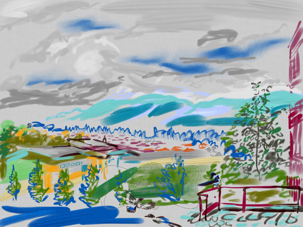 iPad liveSketch on iPad Pro, using ArtSet app, by Helen Imogen of the Oxgang Hills from Firrhill High School with magpies